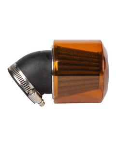 Air Filter w/shield - 45mm, 45 degree angle - Orange